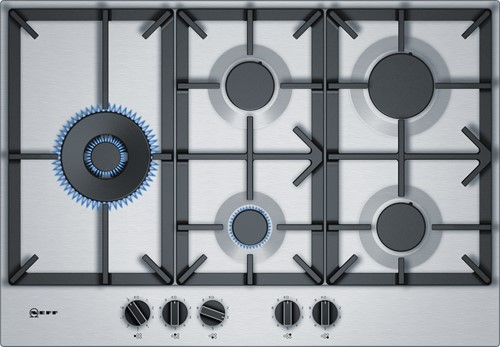 NEFF T27DS79N0N 75 cm rvs 5 branders 5 kW wok links